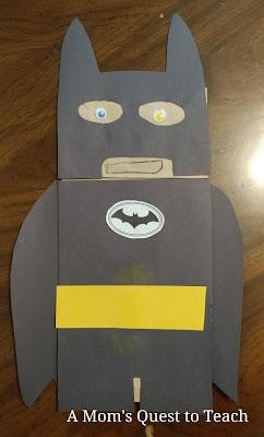 Completed Batman Paper Bag Puppet