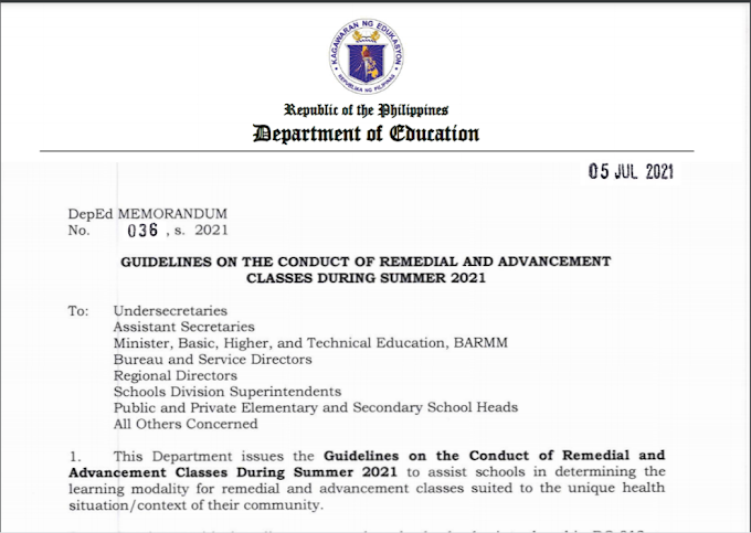 GUIDELINES ON THE CONDUCT OF REMEDIAL AND ADVANCEMENT CLASSES DURING SUMMER 2021