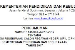 Pengumuman dan Formasi Seleksi Penerimaan CPNS Kemendikbud Tahun 2017