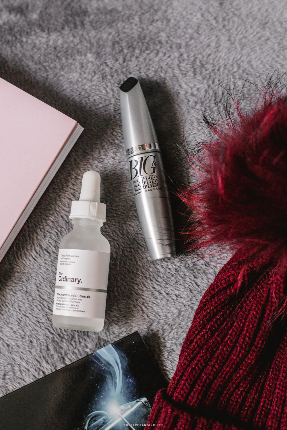 Big and Multiplied mascara by Avon and Niacinamide and Zync Serum by The Ordinary.