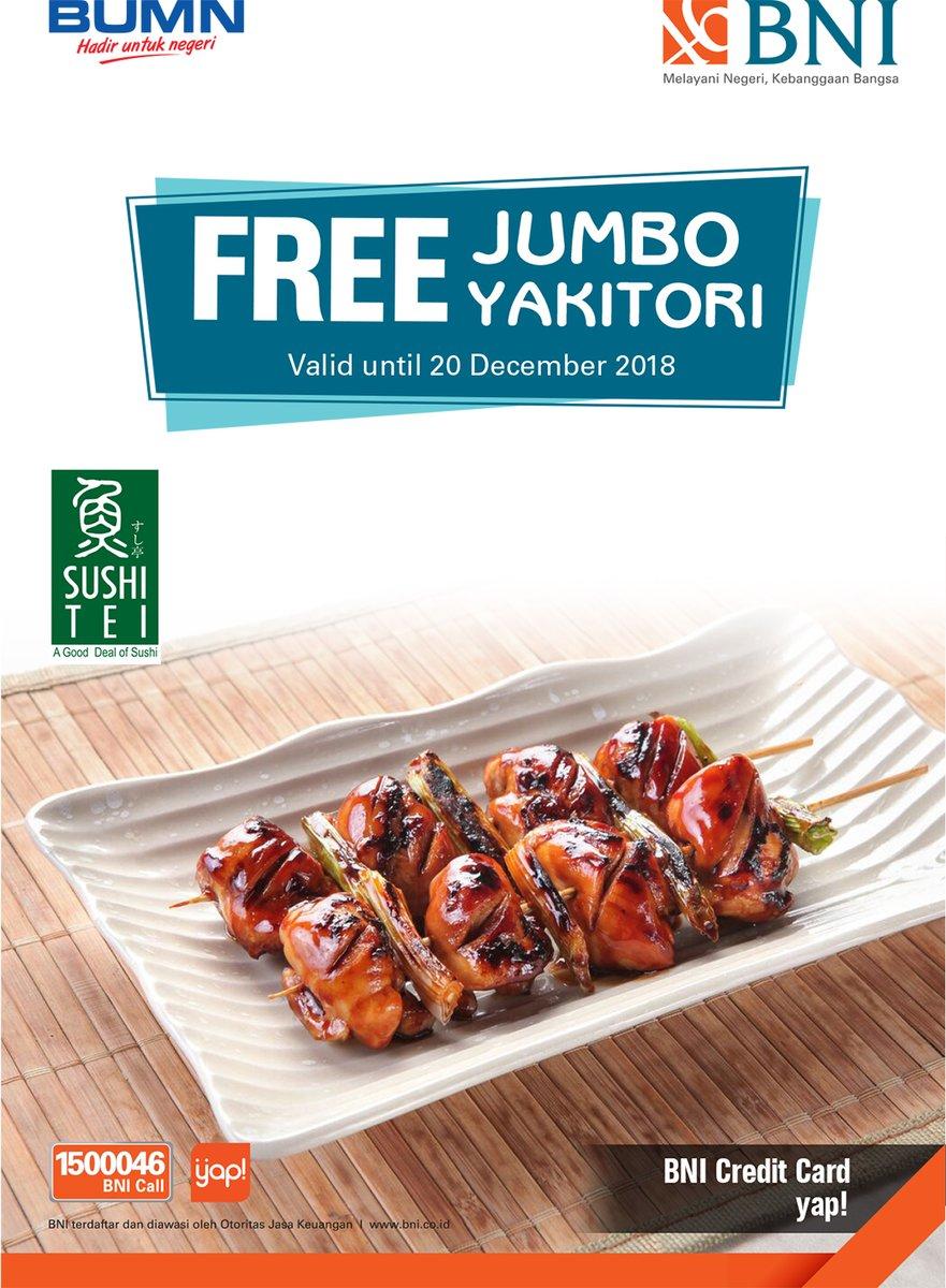 SushiTei - Promo Free Jumbo Yakitori (s.d 20 Des 2018)