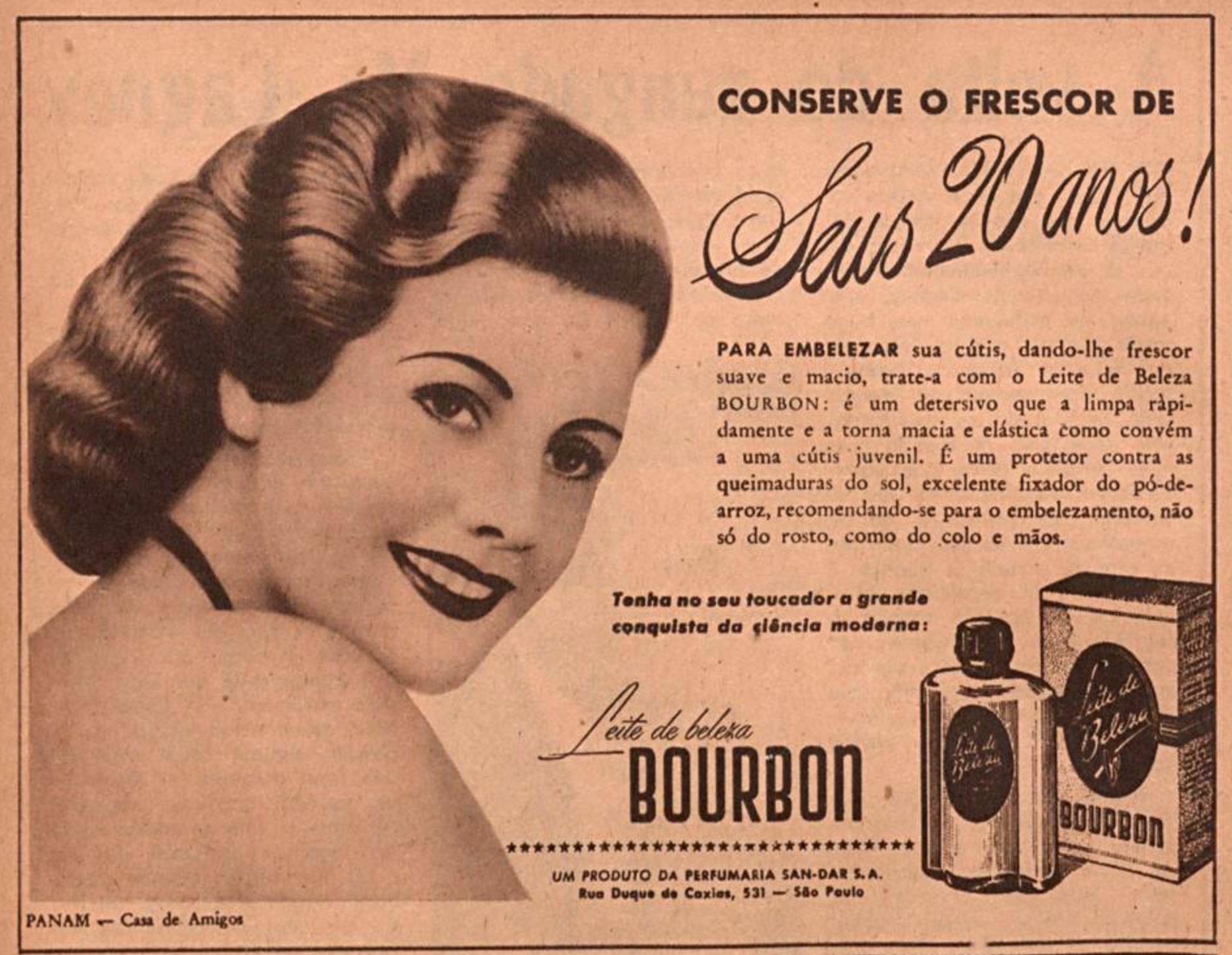 Propaganda antiga promovendo o Leite de Beleza Bourbon em 1945