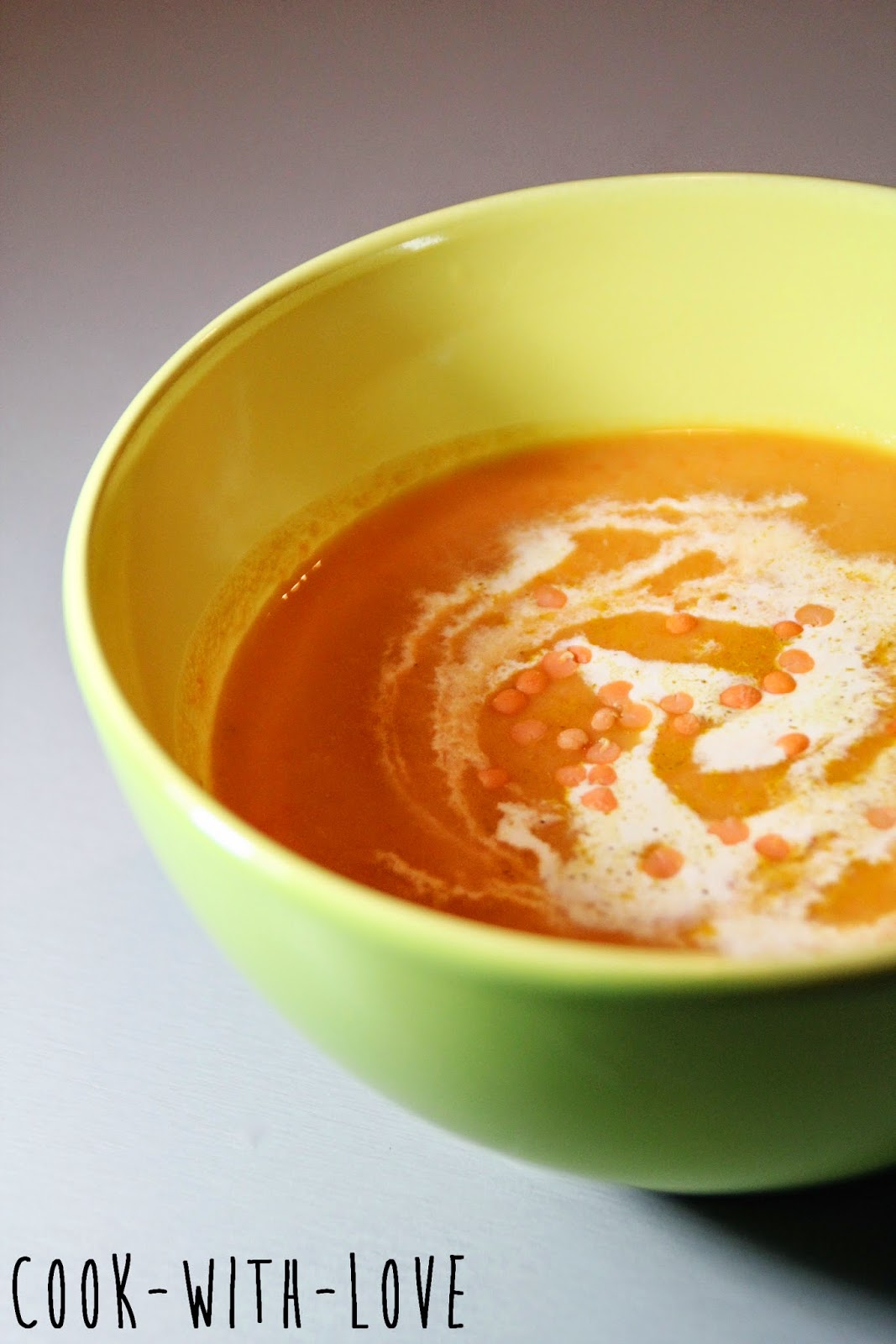 soupe de lentilles corail carottes curry et lait de coco cook with love. Black Bedroom Furniture Sets. Home Design Ideas