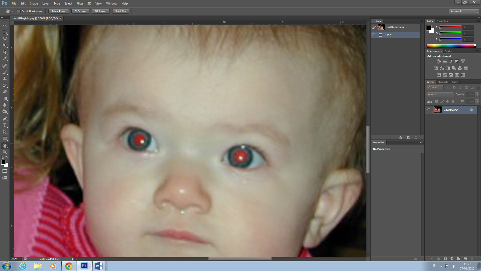 zoomed in on red eyes