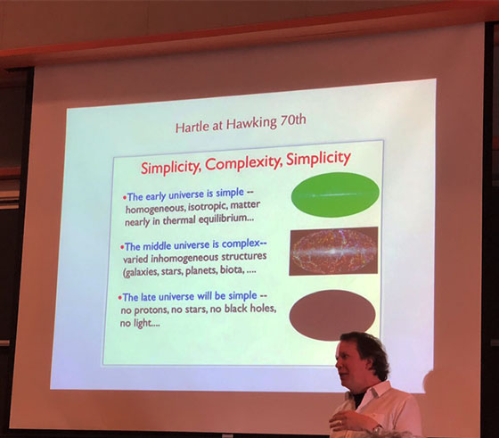 Sean shows Hartle's path from simplicity and back again at Hawking's 70th (Source: Palmia Observatory)