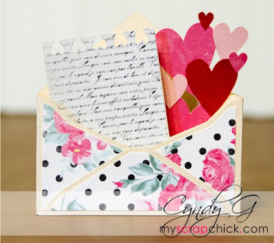 3d envelope with hearts and letter coming out