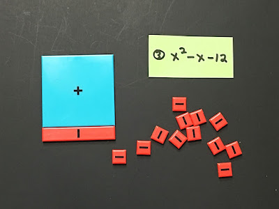 How to use algebra tiles to factor a quadratic trinomial with negatives