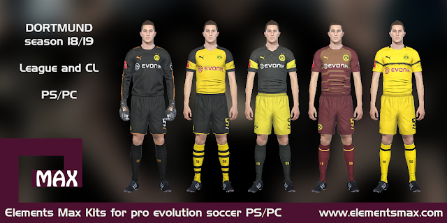 Elements MAX Kits: Borussia Dortmund PES Kits 2018/19