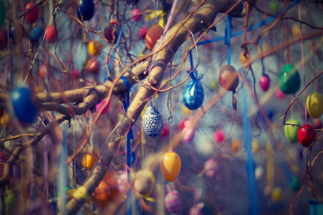 Colourful Easter eggs hanging from a tree
