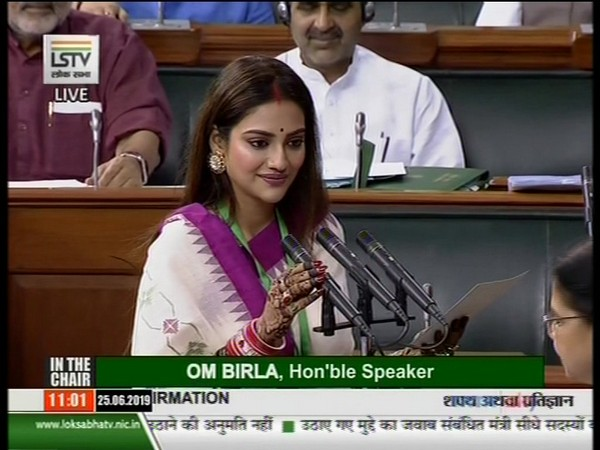 Nusrat Jahan taking oath as MP on June 25. (Picture Courtesy: LS TV) Deboshree Chowdhury on fatwa against Nusrat Jahan: