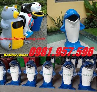 Thùng rác chim cánh cụt, thùng rác gấu túi, thùng rác chuột Micky