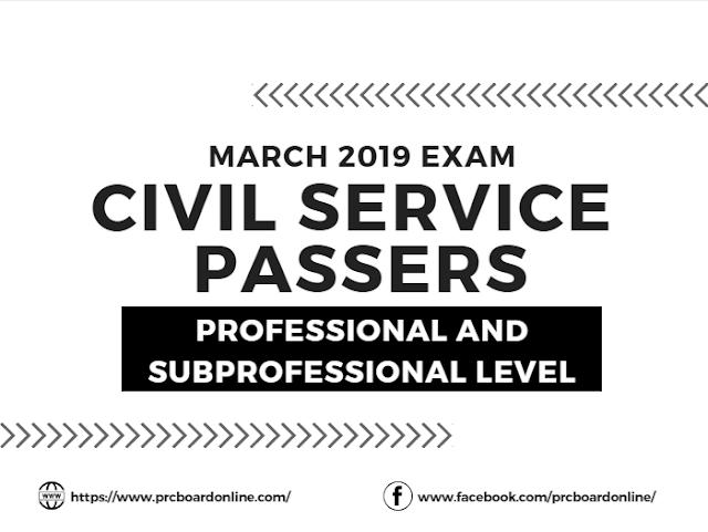 Civil Service Exam Passers March 2019