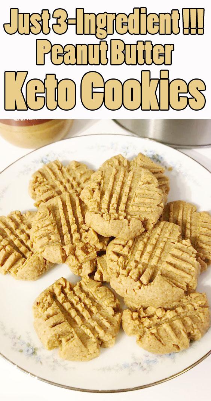 #Easyrecipe 3-Ingredient Peanut Butter #Keto #Cookies