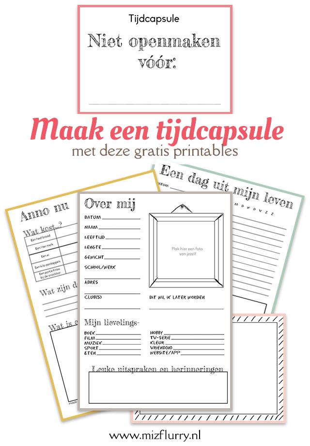 tijdcapsule gratis printables