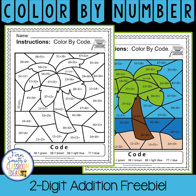 Color By Number Practice 2-Digit Addition Freebie