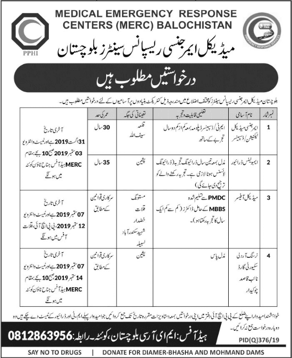 Jobs In Medical emergency response centers balochistan