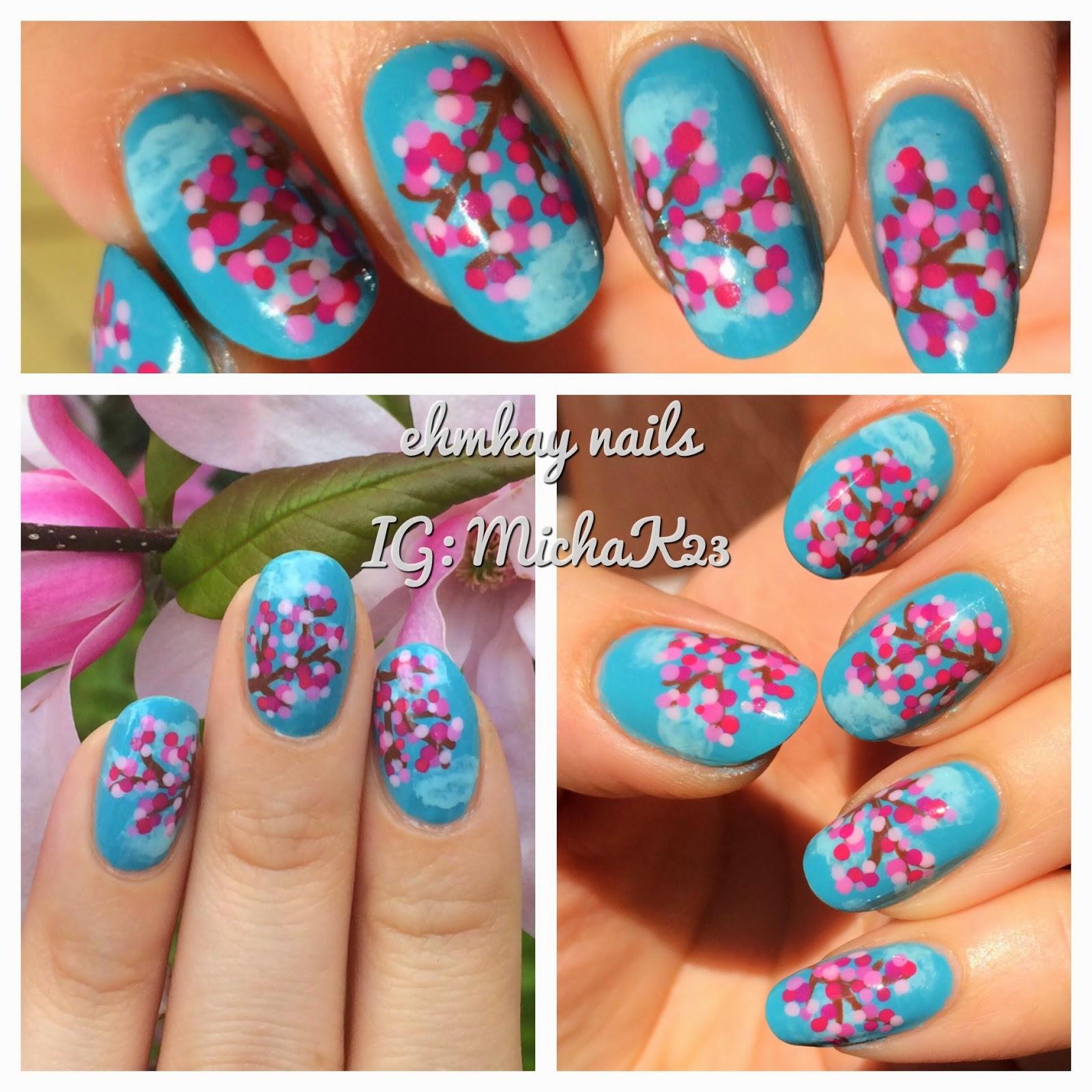 Ehmkay Nails Cherry Blossoms Nail Art With Zoya Nail Polish