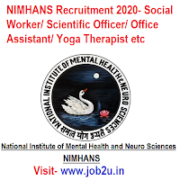 NIMHANS Recruitment 2020, Social Worker, Scientific Officer, Office Assistant, Yoga Therapist etc