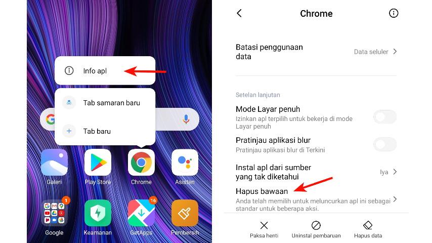 Buka Info Apl dan Hapus bawaan browser di Xiaomi