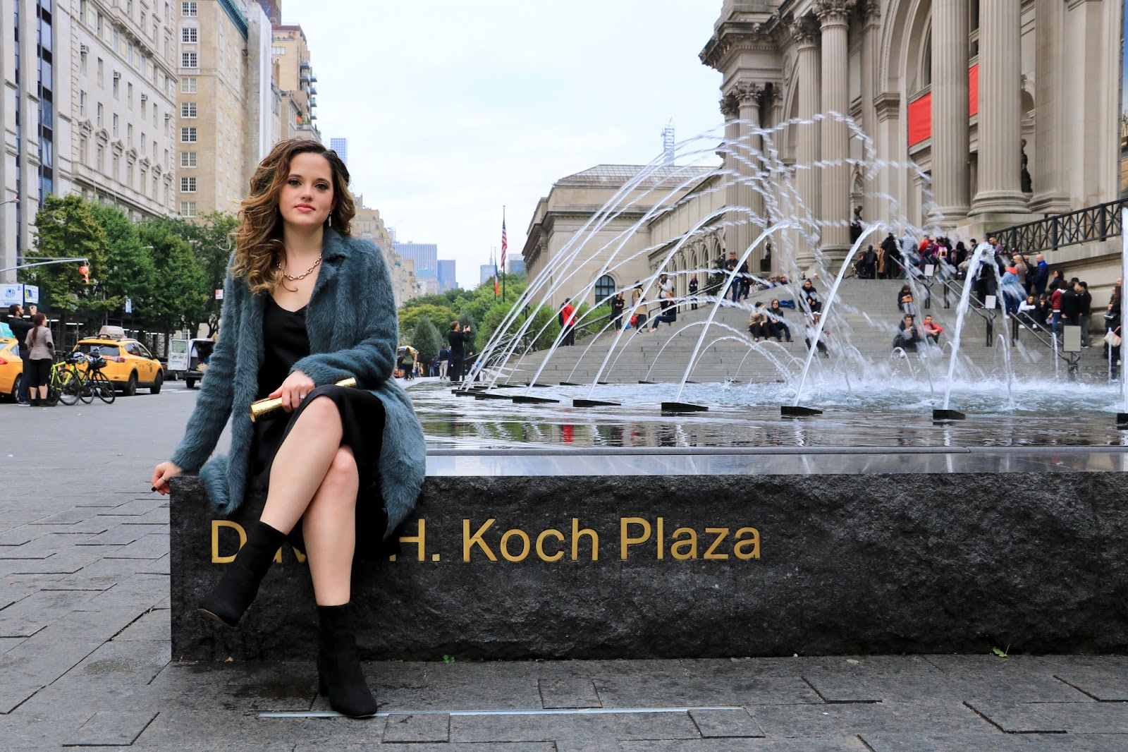Nyc fashion blogger Kathleen Harper posing for photos outside of The MET.