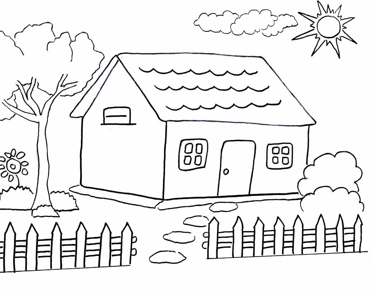 Mewarnai Rumah Adat Dengan Crayon Pewarna B