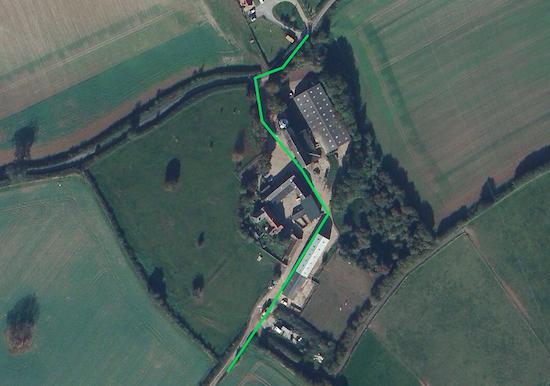 Follow the green line to navigate through the farmyard - point 15