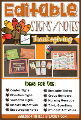 Editable Signs/Notes in PowerPoint: Thanksgiving Themed...use for a variety of purposes!
