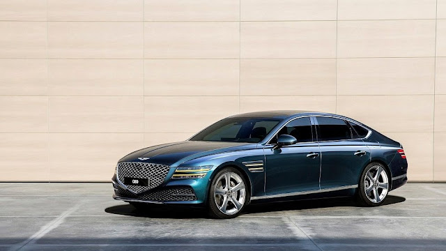 auto genesis G80 2021 color azul egeo, vista lateral