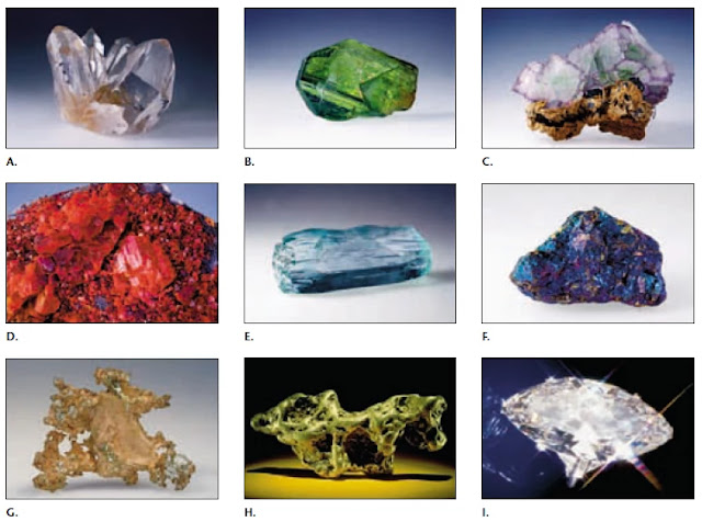 A. Cuarzo, B. Olivino, C. Fluorita, D. Rejalgar, E. Berilo, F. Bornita y calcopirita, G. Cobre nativo, H. Pepita de oro e I. Diamante tallado.