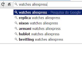 pesquisando relógios no AliExpress
