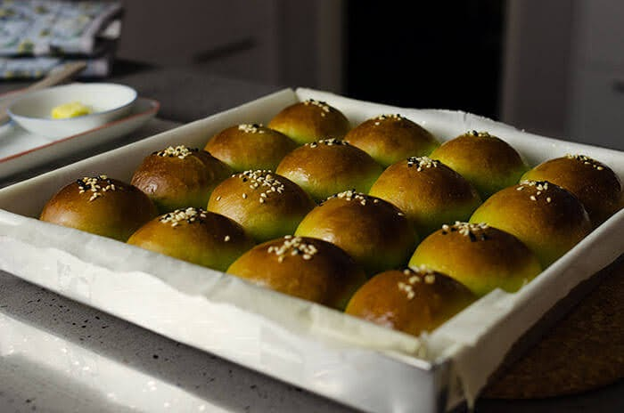 Baked Japanese red bean buns