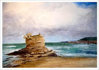 Acuarela de la playa del Camello, Santander.