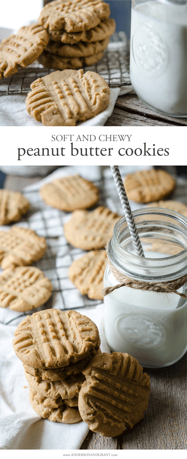 The perfect recipe for peanut butter cookies that are soft, chewy, and full of flavor.  Get the no-fail recipe at www.andersonandgrant.com