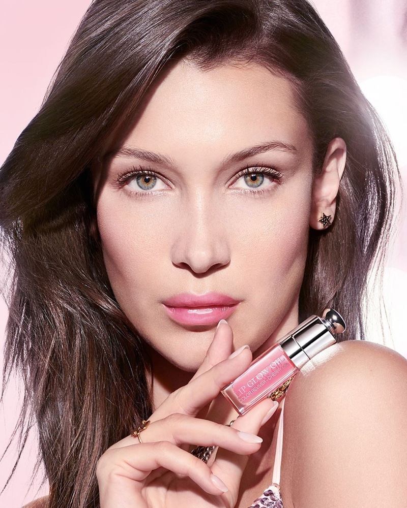 Bella Hadid poses for the Dior Lip Glow Oil 2020 Campaign