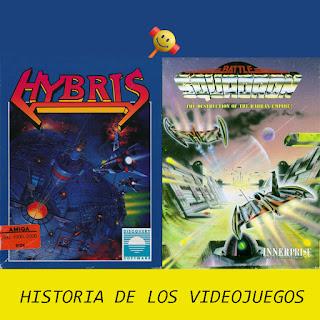 Portadas de los discos de Hybris y Battle Squadron para Commodore Amiga