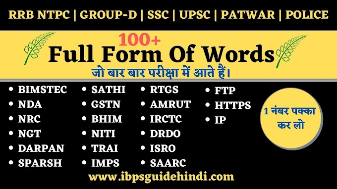 Important Full Form Of Words | Common Full Form of Words List | For All Exam
