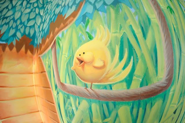 oiseau sur une branche - fresque pour enfant