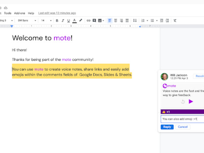 Mote- A New Way to Add Audio Feedback to Docs, Slides, Sheets, and Google Classroom