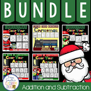 Color By Numbers Christmas Addition and Subtraction Bundle at TpT.
