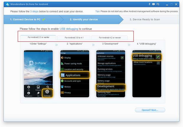 Instal Wondershare Dr. Fone & aktifkan USB debugging di Android