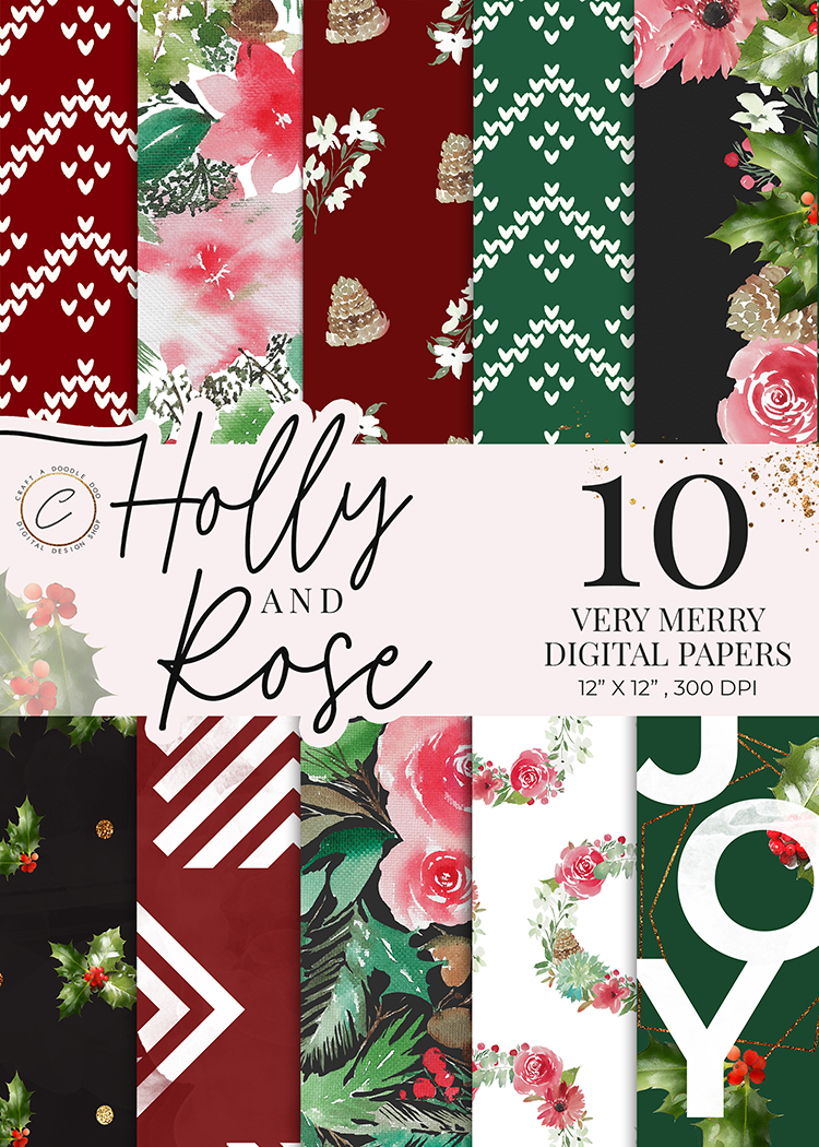 Holly & Rose Digital Paper Pack, Festive Holiday Watercolor Botanical patterns, Floral leaf backgrounds by Craft A Doodle Doo