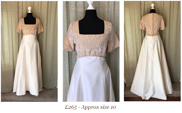 medieval gold edwardian downton abbey vintage wedding dress with gold damask detail available at vintage lane bridal boutique in bolton , manchester, lancashire