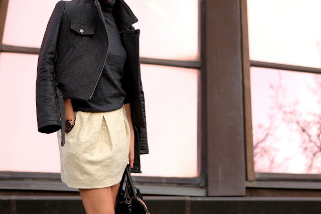 Cream mini skirt and grey turtleneck