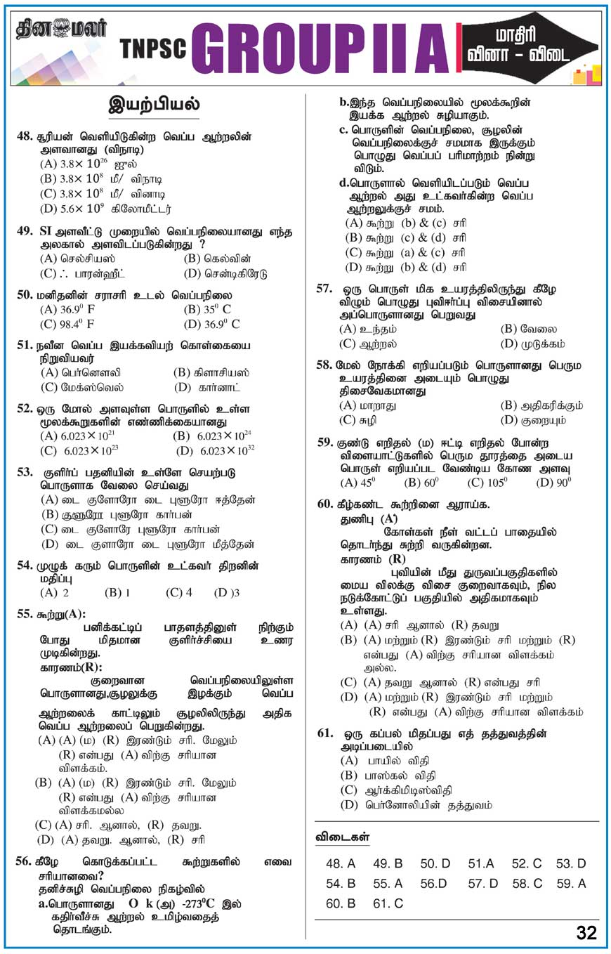 TNPSC GROUP II A Model Question Paper Physics