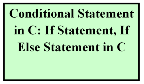 if else statement in C