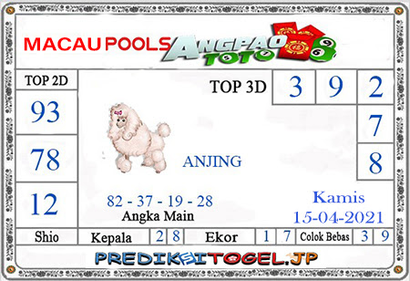 Prediksi Angpao Toto Macau Kamis 15 April 2021