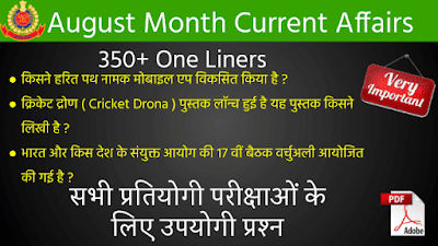 August Month Current Affairs 350+ One Liners