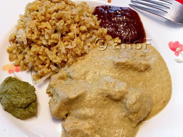 Dinner of Chicken Korma, Barley Khichdi and Chutneys