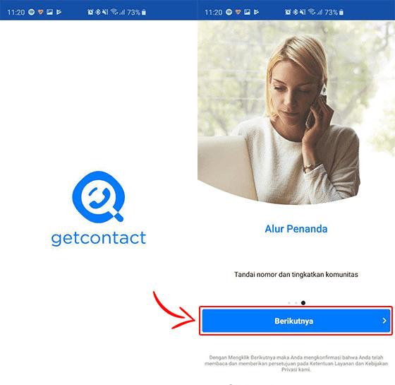 Aplikasi Get Contact setelah selesai diinstal