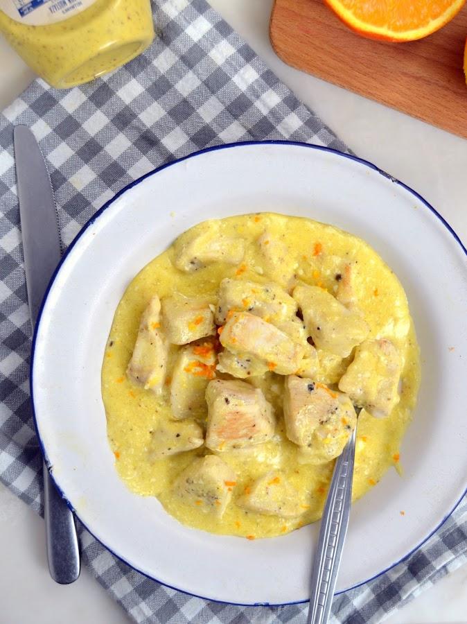 Pollo con mostaza, yogur y naranja receta